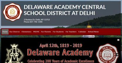 Delaware Academy Central School District website screenshot