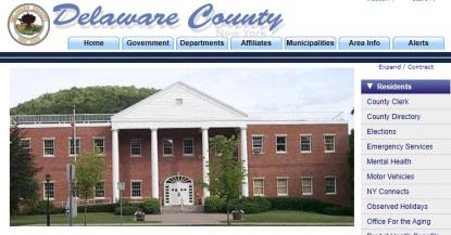 Screenshot of the Delaware County website home page