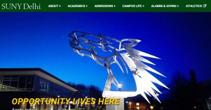 SUNY Delhi website screenshot