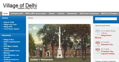 Village of Delhi website homepage screenshot