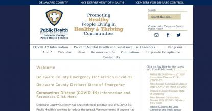 Delaware County Public Health Department website screenshot